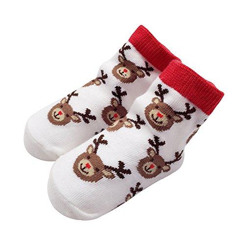 Sanlutoz Bambin Bébé garçon fille Noël Chaussettes Cadeaux Père Noël Nouveau-né Chaussette infantile Halloween (12-24 mois, SOCKN001-WH)