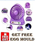 #8: USB Mini Fan Rechargeable Battery 4-Inch with free Egg mould (Color May Vary)