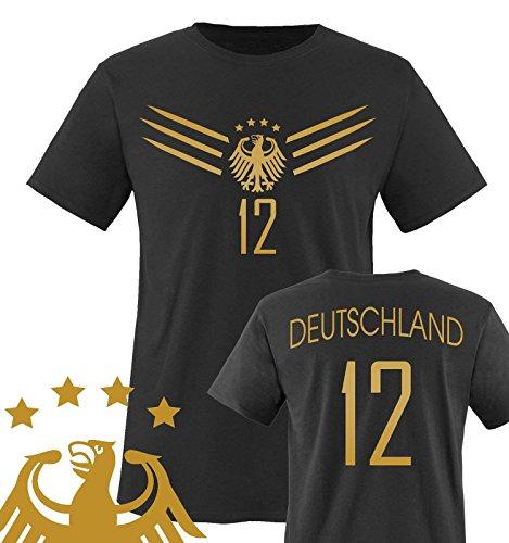 Comedy Shirts - WM 2014 - DEUTSCHLAND - DELUXE F1-VH-12 - Kinder T-Shirt - Schwarz / Gold Gr. 134-146 (Valentinstag T-shirts Für Kinder)