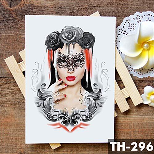 tzxdbh Spitze Feder Maske Mädchen Tattoo-Aufkleber Rose Schädel Traurig und schöne wasserdichte Tattoo Kunst Gefälschte Tätowierung Für Frauen 2 Stücke- -