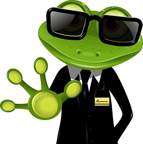 Cool Aufkleber Auto (8 x 8 cm - Kontur geschnitten - Autoaufkleber lustiger Frosch Security frog Kröte funny cool Sticker Aufkleber fürs Auto Motorrad Handy Laptop outdoor / indoor wasserfest)