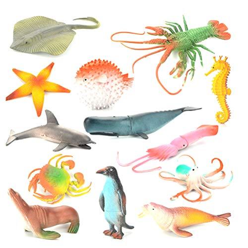 TOYANDONA 13 stücke Tierfigur Spielzeug Meer Tierfiguren Realistische Ozean Kreaturen Tierspielzeug Lernspielzeug für Kinder Kleinkind (Mixed Style) (Meer Kreatur Spielzeug)