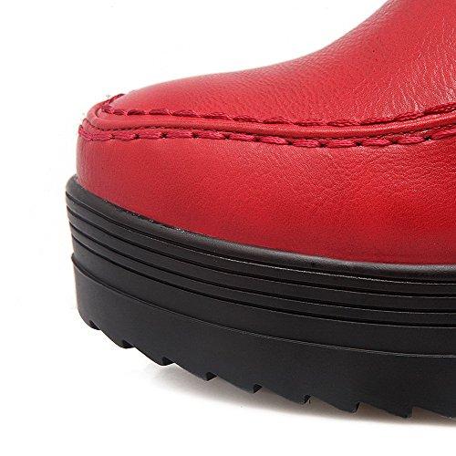 AllhqFashion Damen Weiches Material Rund Zehe Rein Niedrig-Spitze Hoher Absatz Stiefel Rot