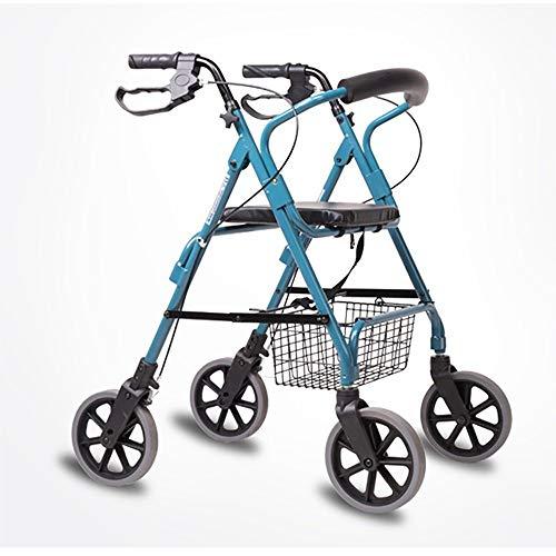 Faltender Vierrädriger Walker Mit Sitzkorb Aluminiumlegierung - Einkaufsbeschränkungen - Mobiler Zusatzpedal-Walker Einkaufswagen-Wagen