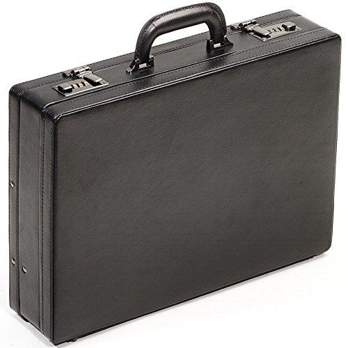 Aktenkoffer Attache Attachekoffer Koffer Echt Leder Schwarz Mit Dehnfalte    Black Line (Leder-koffer)