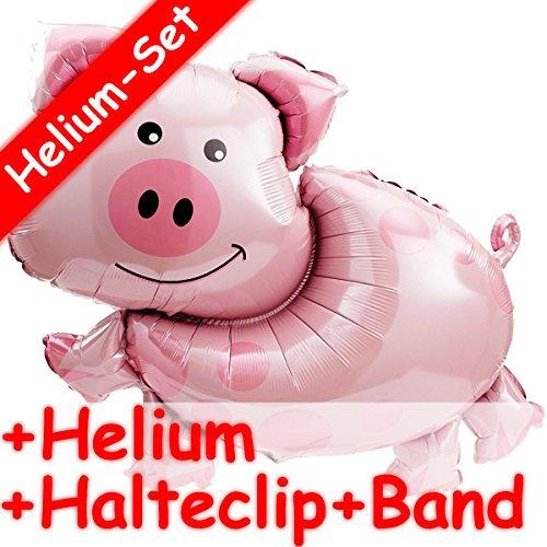 XXL-Folienballon Set * SCHWEIN * + HELIUM FÜLLUNG + HALTE CLIP + BAND * // Aufgeblasen mit Ballongas // Deko Geburtstag Folien Ballon Luftballon Geburtstag
