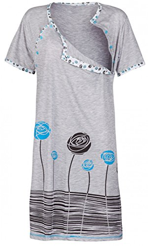 Happy Mama. Damen Umstands-Nachthemd mit Stillfunktion. Stillshirt Kurzarm. 135p (Türkis, EU 40, L) (Nachthemd Weiches)