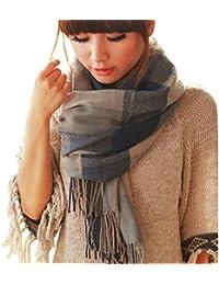 Suave de la manera bufandas de invierno caliente del enrejado grande del abrigo del mantón de la bufanda