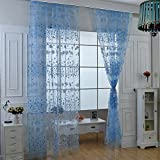 Wingogo Floral Print Tüll Vorhang Voile Tür Fenster Zimmer Sheer Curtain Panel 37,4