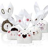 Tomnk 100pcs Bolsas del caramelo Bolsas de embalaje de regalos Bolsas de piscolabis Bolsas en forma de orejas de conejo, utilizadas para fiestas, con regalo de 100pcs cintas