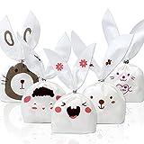 Tomnk 100 Sacchetto per caramella Sacchetti di caramelle borsa di regalo sacchetto per snack borsa a forma d'orecchio di coniglio, per feste, 100 legami in omaggio