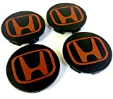 Set von 4 HONDA Alufelgen Center Radkappen Nabendeckel Nabenkappen 68mm Abdeckung SCHWARZ ROT Logo Badge ACCORD CIVIC TYPE R GT Sport 2.0 i-VTEC Turbo EP3 FN2 und andere Modelle / Set of 4 HONDA Alloy Wheels Centre Hub Caps 68mm Cover BLACK RED