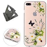 Keyye iPhone 7 Plus Hülle, Transparent Weiche Silikon Schutzhüll Kratzfest Gummi Weich Kristal TPU Schutzhülle Skin Shell mit bunten Muster Design-schmetterling daisy