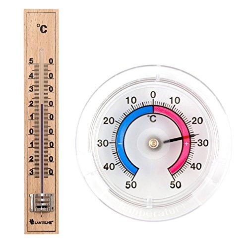 Innen Thermometer Holz (Set Bimetall Analog Fenster / Außen / Klebe und Holz Innen Thermometer aus Deutscher Herstellung)
