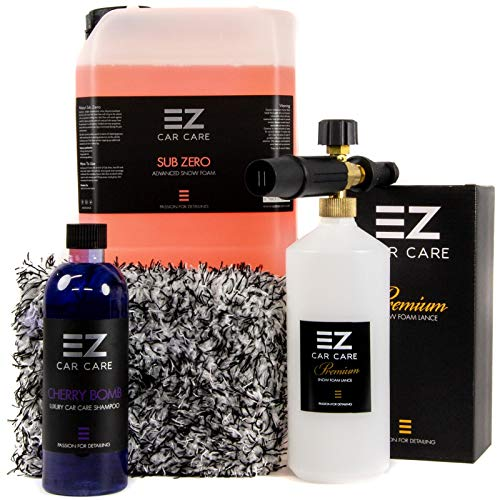 Snow Foam Lance Gun Kit + 5L Sub Zero Snow Foam With Cherry Bomb Shampoo and Microfibre Wash Pad by EZ Car Care