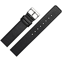 Marburger Smooth Leather Watch Band 22 mm Replacement Strap Adapted for Skagen Watches with Special Screw-Down Housing – Black/Silver