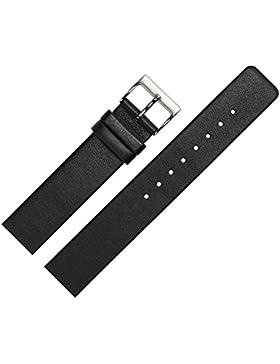 Uhrenarmband 14mm Leder glatt schwarz - Ersatzband angepasst für Skagen Uhren mit Spezialanstoß (verschraubte...