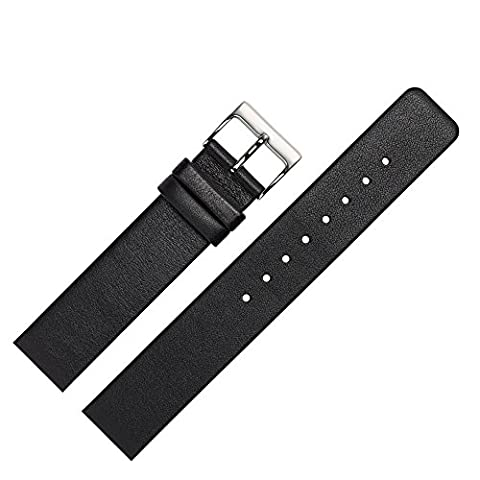Uhrenarmband 18mm Leder glatt schwarz - Ersatzband angepasst für Skagen Uhren mit Spezialanstoß (verschraubte Gehäuse) - schlichtes Marburger Uhrband passend für Uhren von Skagen - schwarz / silber