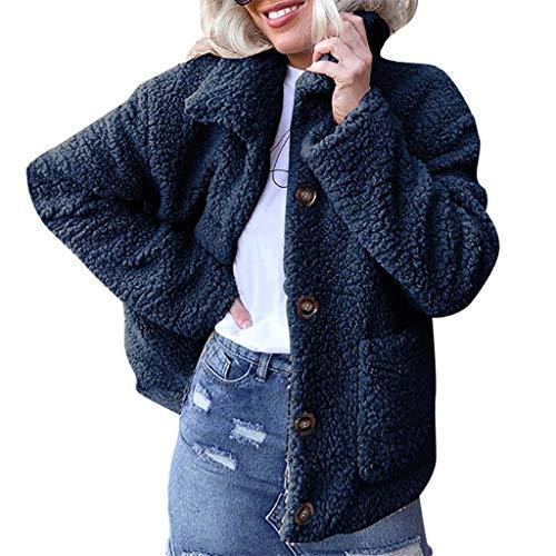 Femme Chic Blouson à Manches Longues Manteau Veste Sweat-Shirt À Capuche Mode Rétro Vintage Hiver Chaud Mode, QinMM Manteau de Laine Artificielle Chaud Dames Revers Tops Plus Velours Épaissir