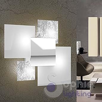 gro e lampe wandleuchte wand 46 x 42 design modern elegant minimal 4 scheiben wei blatt silber. Black Bedroom Furniture Sets. Home Design Ideas