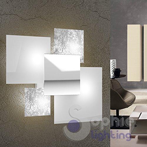 Wandlampe groß Wandlampe 46x42 modernes elegantes minimalistisches Design 4 Glas weiß Blatt Silber Stahl Chrom Flur Wohnzimmer Regal SHAW A45 FA SOPHIE LIGHTING -