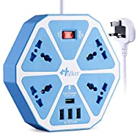 Desktop Extension Lead with USB Slot Quick Charger Power Strip 4 Way 4 USB Quick Charger, HULKER Universal Extension lead for UK EU US AU IT SA IN Plugs 2M Surge Protector Extension Lead