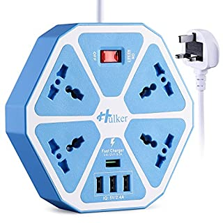 HULKER Power Strips with USB ports 3 Way Outlets 4 USB Ports Surge Protection Power Strip Universal Power Socket with 2 Meter Bold Extension cord With Fuse and Shutter Extension Lead (Glossy-White)