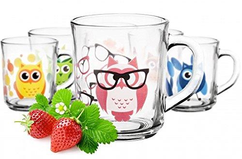 6 tasses Motif chouette Tasse vaisselle verres à thé Anse Verre 250 ml enfants Verres