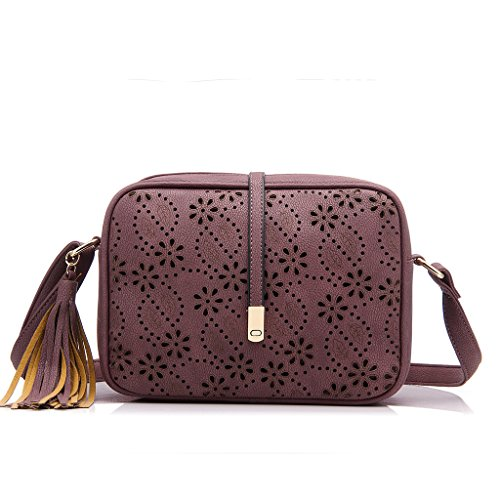 Realer Piccola pelletteria Borse Crossbody e borse design Out Hollow con tracolla per le donne Viola