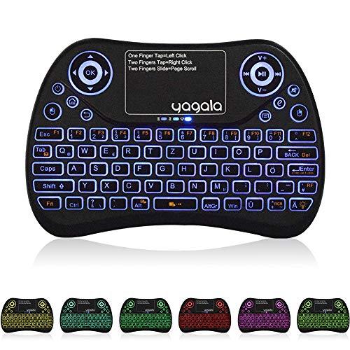 YAGALA Mini Tastatur Wireless mit Touchpad Mouse Combo,2.4GHz QWERTZ Deutsch Tastaturlayout, Smart TV Tastatur Fernbedienung für Android TV Box, HTPC, IPTV, XBOX360, PC, PAD