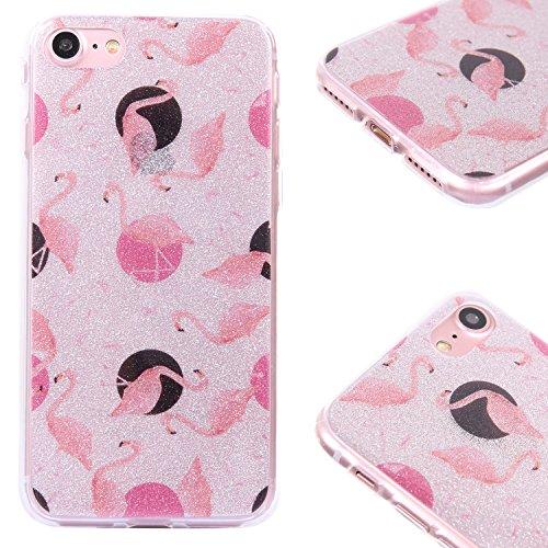 [3 Pack] iPhone 8 Hülle - Fraelc iPhone 7 Bling Glitzer Glänzende Schutzhülle Weiche Flexible TPU Silikon Bumper Handyhülle für Apple iPhone 7 / iPhone 8 (4,7 Zoll) Gummihülle mit Rosa stern + Flaming Flamingo Einhorn Stern