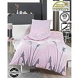 4 Trendy Living Bettwäsche aus Baumwolle, Satin, 135x200 cm, 80x80 cm, Reißverschluss, Öko-Tex Standard 100, Pusteblume, Löwenzahn, Blume, Rosa