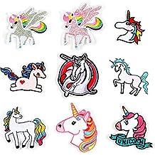 LAKIND 9-PACK Unicornio Arco Parches bordados para planchar o coser, diseño de unicornio