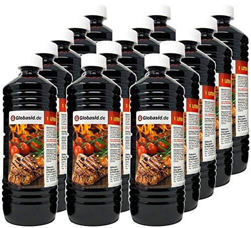 Globasid® 15 x 1 L Grillanzünder Flüssig für Holzkohle, Grillbrikett, Kamin, Grill, Feuerstellen, Grill Anzünder