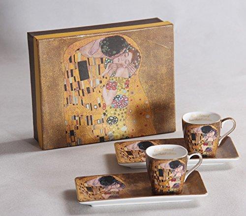 Gustav Klimt Espressoset 'Der Kuss' beige 4teilig Geschenkset