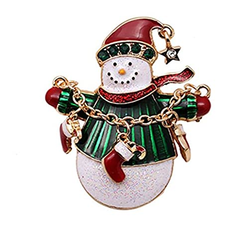 Christmas Brooches Xmas Tree Pin Snowman Brooch Gold Crystal Jewelry