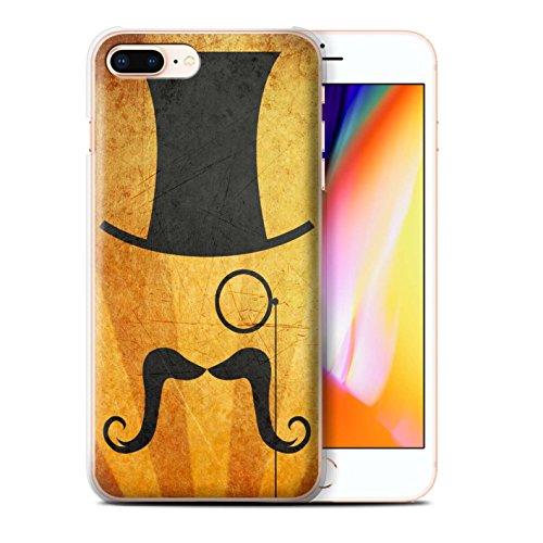 Stuff4 Hülle / Case für Apple iPhone 8 Plus / Melone/Monokel Muster / Retro Schnurrbart Kollektion Zylinder/Monokel