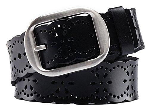 Aivtalk - Cinturón Piel Ancho para Mujer Chica con Hebilla de Aleación Banda de Huecos Waistband para Pantalones Vaqueros - Negro