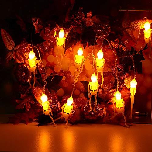 Lichterkette,FeiliandaJJ 2.5M 10pc IP44 Wasserfest Halloween Skeleton Skelett Lichterkette LED Licht Hochzeit Party Halloween Innen/Außen Haus Deko String Lights 2XAA Batterien (B)