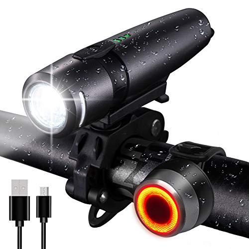 FARRIDE LED-Fahrradlichter-Set, wiederaufladbar über USB, ultrahell, wasserdichte Vorder- und Rücklicht, blendfreies optisches Design für Männer und Frauen, Sicherheits-Taschenlampe -