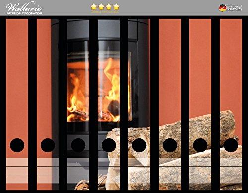 Wallario Ordnerrücken Sticker Kamin Romantik in Premiumqualität - Größe 8 x 3,5 x 30 cm, passend für 8 schmale Ordnerrücken