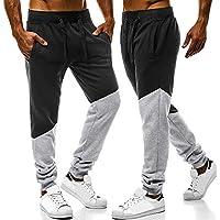 Pantalon Homme,Sonnena de Survêtement Hommes Automne Hiver, Mode Patchwork  Élastique Coton Jogging Sweat 97b5cf5e4ed2