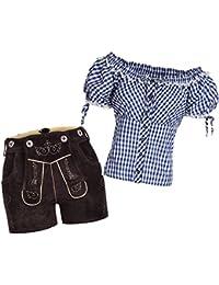Damen Set Trachten Lederhose Shorts neue Länge dunkelbraun + Träger+ Trachtenbluse Carmenbluse
