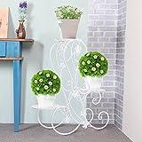 Blumentreppe Blumenständer Metall Blumenbank mit 3 Blumenhocker für Garten/Terrasse (Weiß)