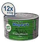 Hopey's hypoallergenes Hundefutter: 100% Wildschweinfleisch Pur, Single Protein, Getreidefrei 12x 410g Dosen