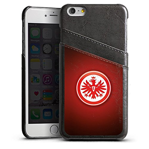 Apple iPhone 7 Lederhülle Leder Case Leder Handyhülle Eintracht Frankfurt Fanartikel SGE Bundesliga Leder Case Sierragrau