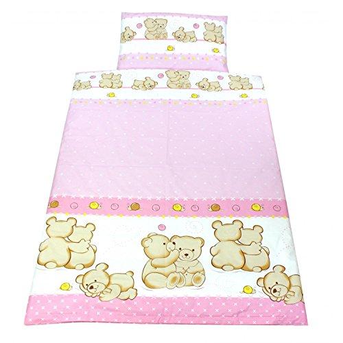 TupTam Kinderbettwäsche Set Gemustert 2 teilig, Farbe: Bärchen Freunde Rosa, Größe: 135x100 cm