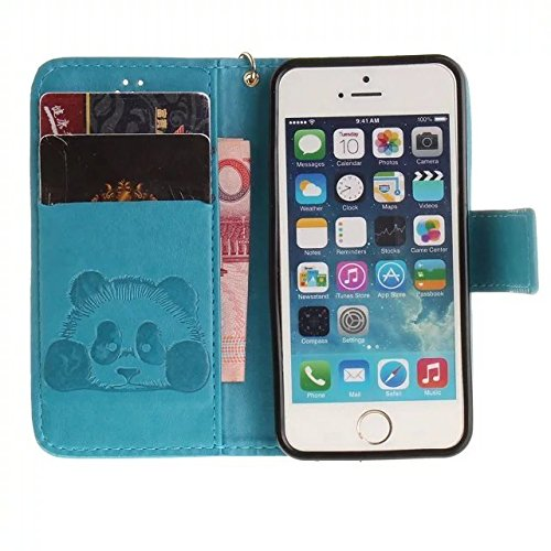 Etsue Handytasche für iPhone 7 (4.7 Zoll) 2016 lila, Brieftasche Hülle für iPhone 7 (4.7 Zoll) 2016 [Mädchen Schmetterling] Muster Lederhülle Handyhülle Einzigartig Flip Hülle Leder Schutzhülle Vintag Karikatur Panda,Blau