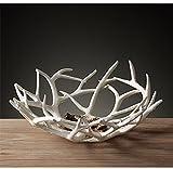 Yaku Art Rentier Geweih Deer Bio Obst Korb Schüssel künstlich Deko Geschenk Weiß Tablett Rack Trocknen Decor Fresh groß, Aufbewahrung Ständer Teller Halterung Regal Vintage rund Display Container Deer White