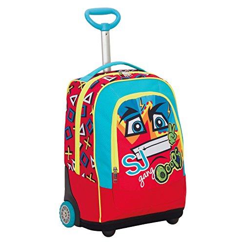 Big trolley sj face boy - rosso - 33 lt - 2in1 zaino  con spallacci a scomparsa - scuola & viaggio